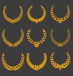 Set of monochrome wreaths vector