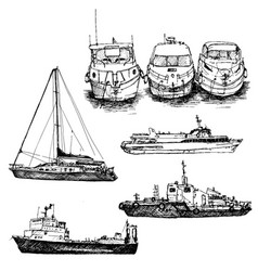 Set of ships and boats vector