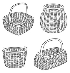 set of wicker baskets vector image