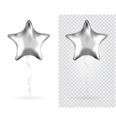 set silver star foil balloons on transparent vector image