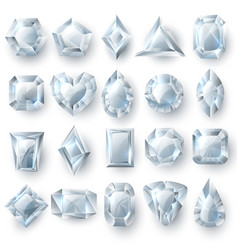 silver diamonds gems cutting stones jewellery vector image