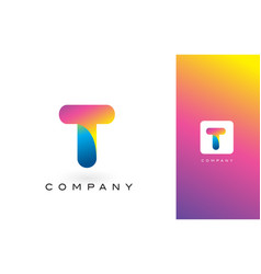 t logo letter with rainbow vibrant beautiful vector image