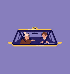 taxi driver and elderly woman sitting in front vector image