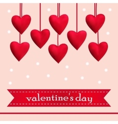Template greeting card with red hearts vector