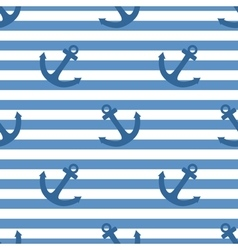 Tile sailor pattern with white anchor vector image