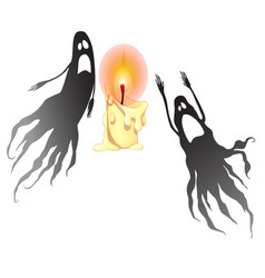Two black ghosts and a burning candle isolated on vector