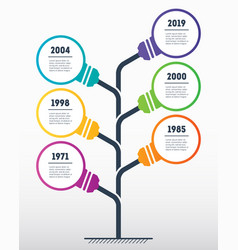 vertical timeline infographics with lamps the vector image