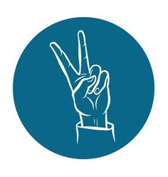 victory hand gesture vector image