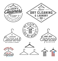 Vintage dry cleaning emblems and design elements vector