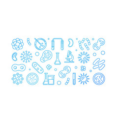 Viruses blue outline banner made with virus icons vector