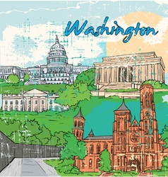 Washington doodles vector