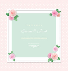 White square frame decorated with roses on polka vector