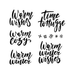 winter season and christmas greetings lettering vector image