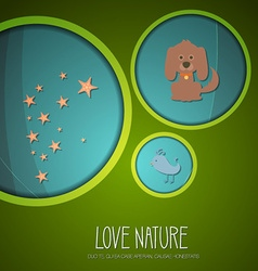 With nature and bird vector