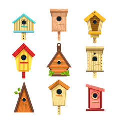 Wooden birdhouses isolated icons nesting boxes vector