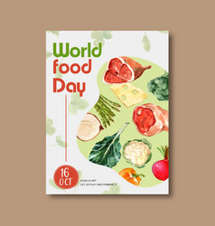 World food day poster design with meat beets vector