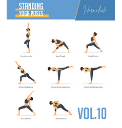 yoga poses for balancing poses and standing poses vector image