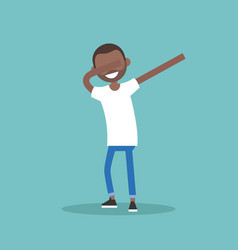 Young black character making dab dance flat vector
