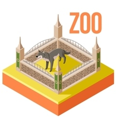 Zoo Wolf isometric icon vector image