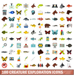 100 creature exploration icons set flat style vector image vector image