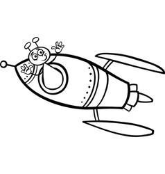 alien in rocket cartoon coloring page vector image vector image