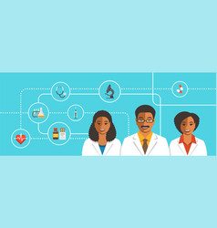 black doctors team with medical icons vector image vector image