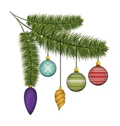 christmas pine branches with colorful garlands vector image vector image