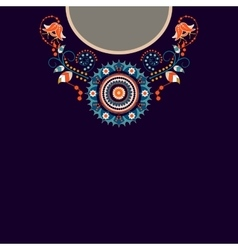 Colorful ethnic flowers neck Paisley decorative vector image