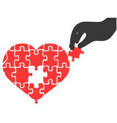 Hand took heart jigsaw puzzle piece vector