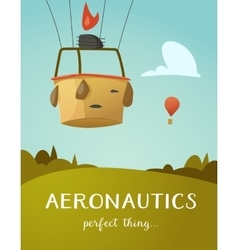 Aeronautics hot air balloon basket vector image