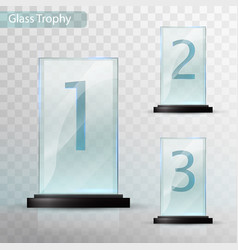 glass trophy award set of cups - first second vector image