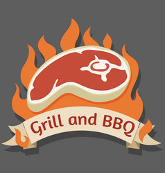 Grill and barbecue cartoon logo vector