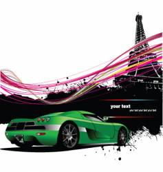 Paris with car vector image vector image