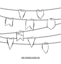 Set of doodle flags with elemens for rope brush vector
