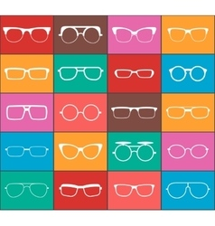 Set of glasses colorful icons vector