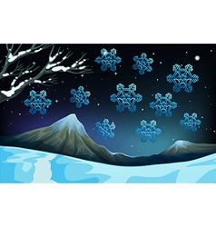 Snowflakes falling on the ground vector