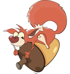 A squirrel and an acorn cartoon vector image
