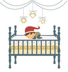 Baby sleeping in santa hat vector