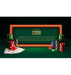 casino chips lamp vintage banner and cards vector image vector image