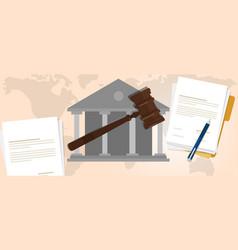 constitutional law verdict case legal gavel wooden vector image vector image
