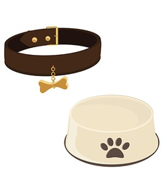 Dog bowl and collar vector image vector image