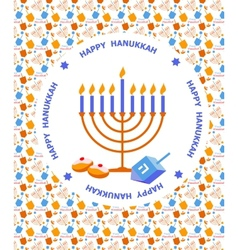 Happy Hanukkah greeting card design vector image vector image