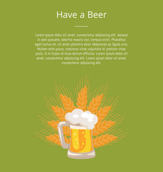 have a beer poster traditional glass with white vector image vector image