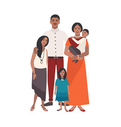 large loving indian family father mother holding vector image
