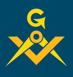 masonic square and compasses sacral emblem of vector image