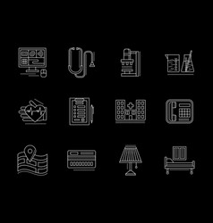 private clinic services flat line icons set vector image