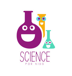 science for kids logo symbol colorful hand drawn vector image vector image