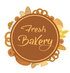 bakery products frame with bread loaf buns vector image vector image