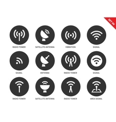 Radio tower icons on white background vector image