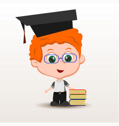 Schoolboy with books vector
